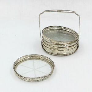 Sterling Twr Rimmed Glass Coasters Set Of 5 With Holder Carrier 3 5x3 25x3 25