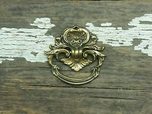 Vtg Antique Polished Brass Fancy Ring Pull Handle Cabinet Desk Jewlery Drawer