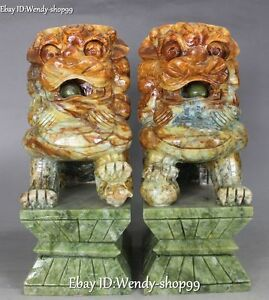 12 Unique Natural Jade Hand Carved Lion Fu Foo Dog Guardion Beast Statue Pair