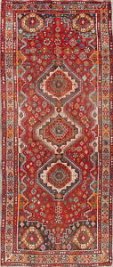 Antique Old Geometric Lori Persian Oriental Hand Knotted 3x8 Wool Runner Rug