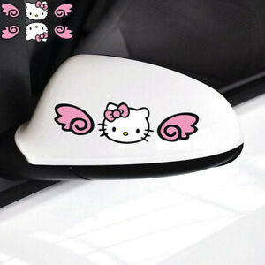 Hello Kitty With Wings Cartoon Paperclip Car Decal Windshield Car Stickers 1pair