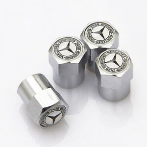4x Car Tire Valve Dust Stems Air Caps Covers Accessories Logo For Mercedes Benz