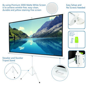 100 Tripod Portable Projector Projection 16 9 Screen 87 x 49 Fold able