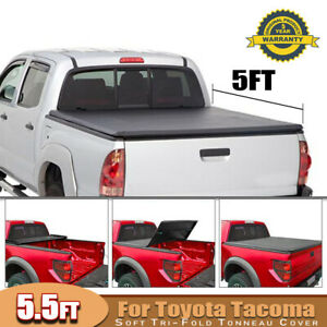 Tonneau Cover Soft Tri Fold For 05 15 Toyota Tacoma Pickup Truck 5ft Truck Bed