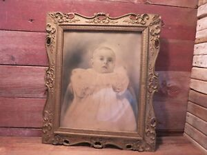 Vintage Rare Large Picture Little Girl Lace Gown Dress Beautiful Frame