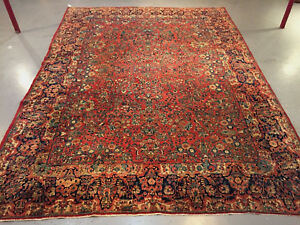Antique Persian Sarouk Rug Fantastic Carpet Ca 1930s 10 X 14 Large