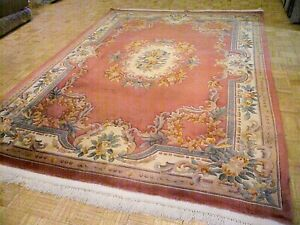 9x12 Chinese Rug Vintage Aubusson Nichols Authentic Hand Made Oriental Rug 1960s