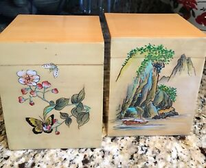 Pair Of Japanese Wooden Tea Boxes Hand Painted Decoration Lacquer Finish