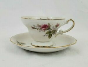 Vintage Royal Sealy China Teacup Saucer With Pink Roses Gold Trim Japan