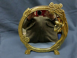 3071m Vtg Art Deco Brass Round Mirror 10 W Easel 3d Figure Lady Nymph Elegant