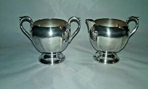 Vintage Sugar Bowl Creamer Silver Plated Sheffield Silver Co