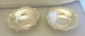 Poole Silver Plated 6 1 2 Epca Old English Floral Rimmed Footed Bowls Two
