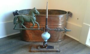 Antique Horse Lightning Rod Weathervane Vintage Cedar Blue Glass Bullet Hole