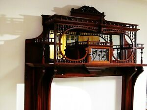 Antique Victorian Wood Fireplace Mantel Surround Architectural Salvage