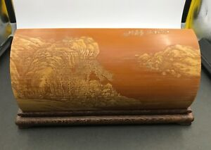 Chinese Bamboo Carved Wrist Rest W Rosewood Zitan Seating