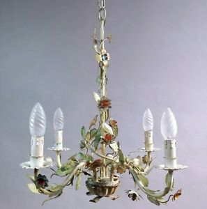 Gorgeous Vintage Italian 50s Metal Tole Toleware Flower 4 Lights Chandelier