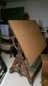 Victorian Oak Antique Writing Drafting Table On Industrial Cast Iron Base