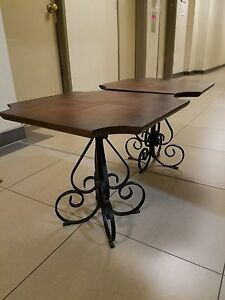Nyc P U Vtg French Scroll Wrought Iron Parquet Wood Table X2 For Coffee End Side