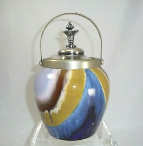 Antique Ceramic Biscuit Jar With Silver Plate Handle Lid
