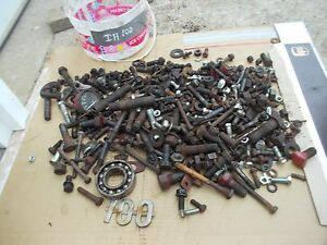 International 100 H Tractor Ih Ihc Box Of Bolts Parts Nuts Pieces Covers Cap