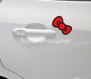 Hello Kitty Red Bow Cartoon Paperclip Cover Car Decal Decoration Car Stickers
