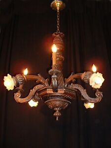 Antique Hand Custom Made French Hand Carved Wood Chandelier Ca 1890 S