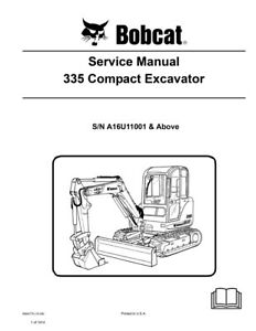 Bobcat 335 Compact Excavator New Updated 2009 Repair Service Manual 6904775