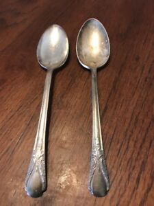 Wm Rogers Mfg Co Avalon Cabin Silver Plated Silverware Set Of 2 Tsps Vintage