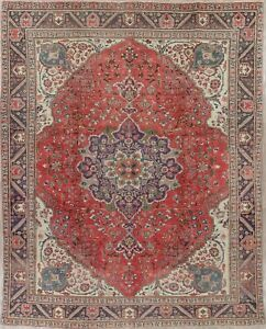 Persian Old Area Rug Wool Hand Knotted Floral Oriental Tabrez Area Rug 9 X 13