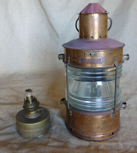 Vintage Nautical Copper Red Signal Ship Lantern W Fresnel Lens Red Signal Light