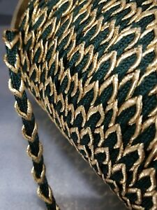 1 Roll Antique Vtg Cord Braid Trim Green Metallic Gold Fabric Edging Millinery