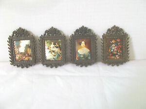 4 Vintage Metal Miniature 4 Picture Frame Silk Images Made In Italy Mod Dep