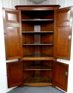 Huge Antique Corner Cupboard Cabinet Mid 1800 S 19th Century 88 Tall