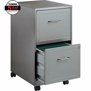 Gray 2 Locking Drawer Mobile File Cabinet 18 inch Depth Steel Construction