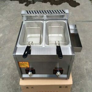 Commercial Kitchen 2 Fry Baskets Stainless Steel Gas Deepfryer Industrial Gas