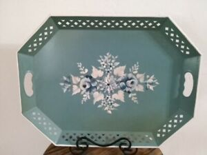 Large Vintage Nashco Hand Painted Toleware Metal Floral Serving Tray Blue And Wh
