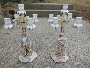 Large Pair Dresden Porcelain Figural Candelabra Pair 4 Branch Excellent Conditio