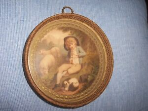 Antique Victorian 19th C Colored Print Young Boy Playing Flut Original Frame