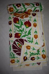 Suzani Hand Embroidered Quilt Twin Bedding Vintage Blanket Bohemian Throw 1314