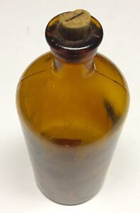 Vintage Bottle Apothecary Amber With Cork Medicine Free Shipping