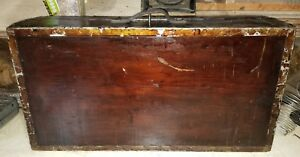 Primitive Rare Antique Tool Map Document Box Wood Chest Trunk Ship With Key
