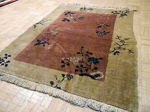 3x4 Chinese Rug Vintage Art Deco Nichols Authentic Hand Made Oriental Rug 1960s