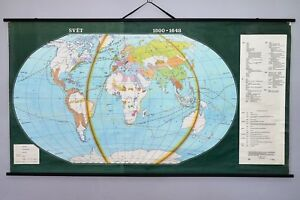 Vintage Antique School Wall Map The World In 1500 1648 Roll Up 79 X 43 Inch