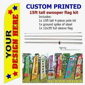 Premium Quality Custom Print Swooper Feather Flag Banner Sign Kit