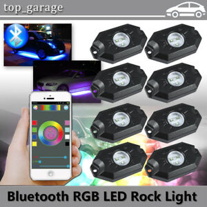 Rgb Led Rock Lights Multicolor Neon Led Light For Underglow Off Road Atv Suv 8pc