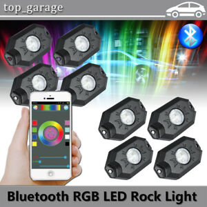 8x Multicolor Cree Led Rock Light For Jeep Suv Offroad Truck Boat Underbody Lamp
