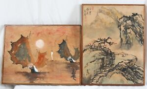 Vintage Chinese Ink 16x21 Silk Painting Pair Junk Ship Seascape Landscape Signed