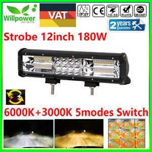 12inch 7d 180w Suv Atv Truck Off Road White Amber Car Dual Color Led Light Bar