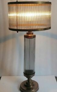 Antique Old Vintage Art Deco Skyscraper Brass Glass Rod Table Lamp Light