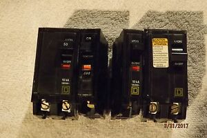 Square D Qo250 Qo130 two And One Qo200 Type Qo 60a 240v 40c Breakers Lot Of 4